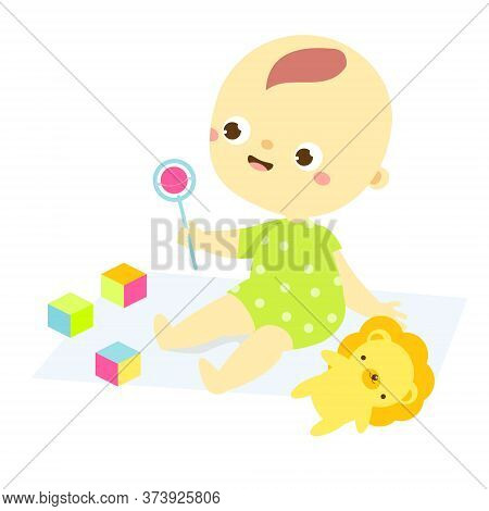 Baby Play With Rattle And Cubes. Newborn Child, Little Kid Enjoy Toys