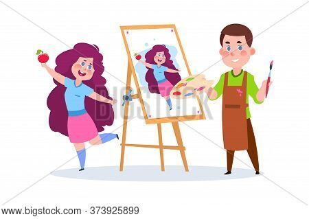 Drawing Boy. School Children With Paints And Brush, Young Painter. Cute Girl Posing For Artist, Guy