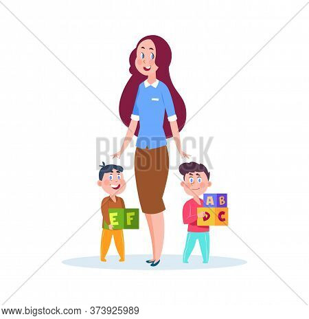 Nanny And Kids. Young Babysitter, Cartoon Little Brothers With Cubes. Preschool Study, Isolated Kind