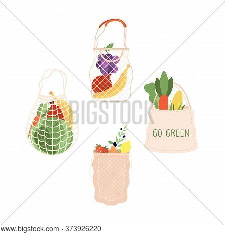 Grocery Bags. Shopping Food Bag, Organic Supermarket Shop Packaging. Fresh Fruits Vegetables Market