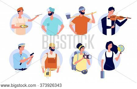 Professional Avatars. Different Profession People With Work Tools And Equipment. Woman Man Teacher,