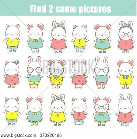 Children Educational Game. Find The Same Pictures. Find Two Identical Animals, Fun For Kids And Todd