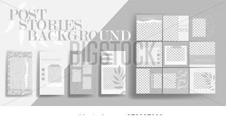 Design backgrounds for social media banner. Set of instagram stories and post frame templates. Vector cover. Mockup for personal blog or shop. Layout for promotion.