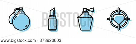 Set Line Perfume, Perfume, Lipstick And Heart In The Center Of Target Aim Icon. Vector