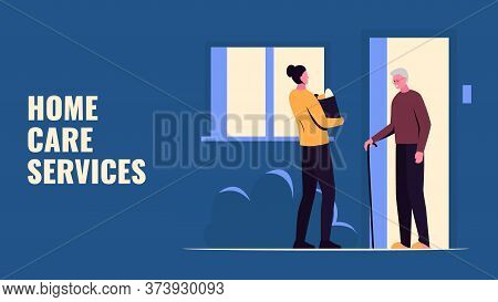 Vector Concept Illustration Of A Girl Handing Groceries To An Elderly Man On The Porch Of The House.