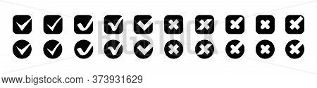 Check Marks With Crosses Vector Icons Big Collection. Check Marks With Crosses Different Shapes, Iso