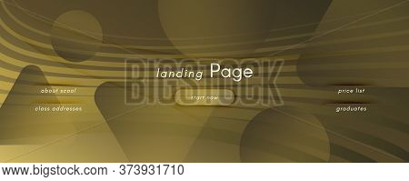 Abstract Vector Curve. Golden Dynamic Landing Page. 3d Fluid Shape. Technology Banner. Yellow Abstra