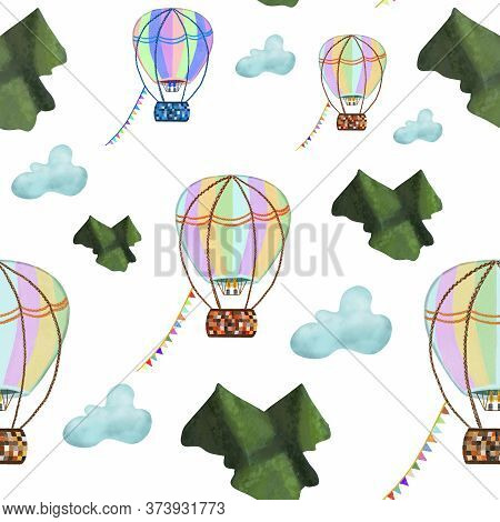 Colorful Hot Air Balloons Flying Across Green Mountains And Blue Clouds On White Background. Seamles