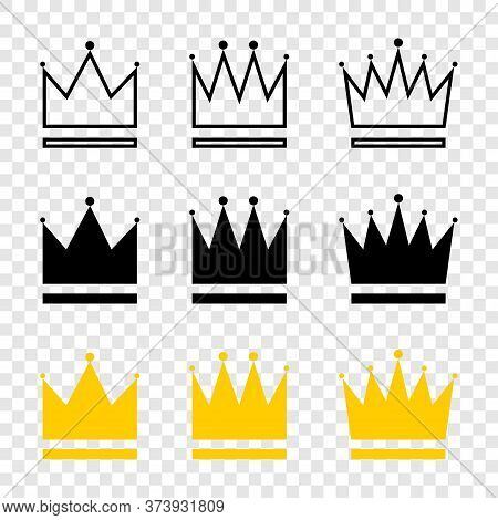 Crowns Collection. Crown In Different Styles. Crowns Isolated On Transparent Background. Crown Vecto