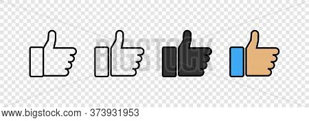 Thumbs Up Icons. Like Vector Icons, Isolated. Like Or Thumb Up In Different Design. Thumb Up. Like.
