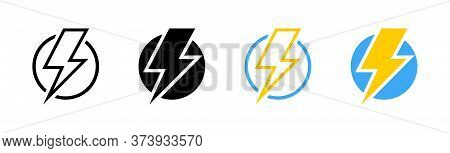 Electric Vector Icons, Isolated. Bolt Lightning Flash Icons. Flash Icons Collection. Bolt Logo. Elec