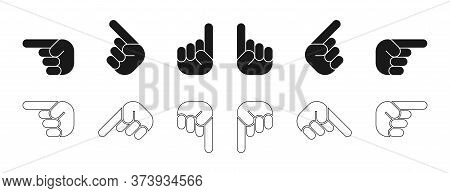 Hands. Finger Up. Hands, Isolated On White Background. Fingers In Different Directions. Finger Up Ve