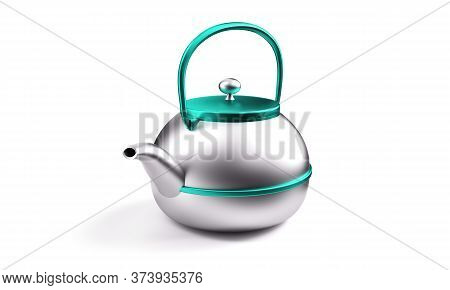 Stylish Insulated Plastic Electric White Kettle. 3d Illustration, 3d Rendering.