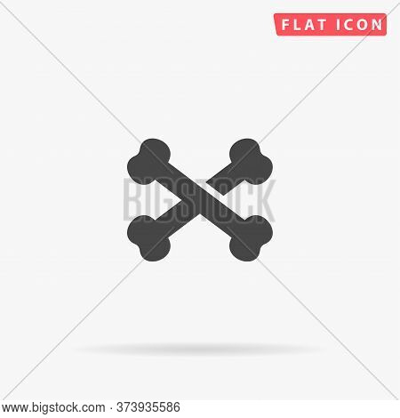Bones Crossed Flat Vector Icon. Hand Drawn Style Design Illustrations.