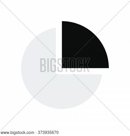 Pie Chart Percentage 25. Pie Graph Diagram, Round Chart Twenty Five. Grayscale Vector Chart Symbol F