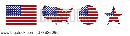 America. Usa Map With Flag America. Usa. Star With Flag America. Usa Map With Star And Flag In Circl