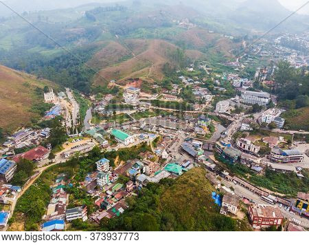 Aerial View Of The City Of Munnar In Kerala. India.