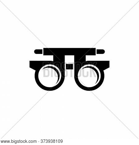 Eye Optometry Trial Lens, Correct Vision Test. Flat Vector Icon Illustration. Simple Black Symbol On