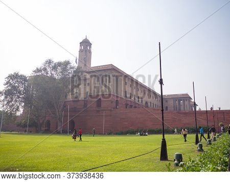 Delhi, India - November 28, 2018: Ministries Near Rashtrapati Bhavan, The Official Home Of The Presi