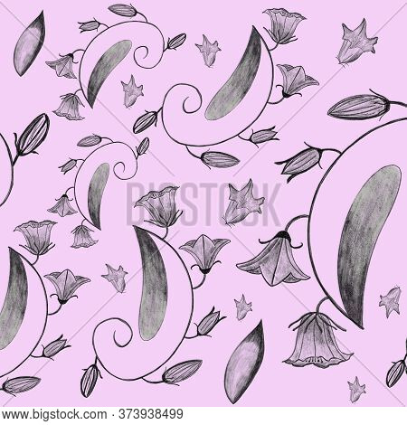 Seamless Pattern With Pencil Drawing Bellflowers, Leaves, And Bloomings On Pink Background. Linen, W