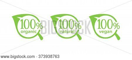 100 Natural, 100 Organic, 100 Vegan Icons - Tag For Hundred Percent Healthy Food, Vegetarian Nutriti