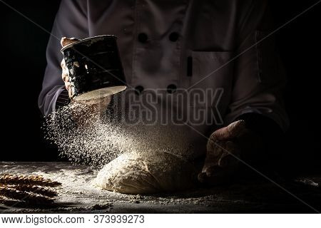 Sift Flour By Sieve, Horizontal Shot Of Workplace With The Flour For Beating Up Dough. White Flour F