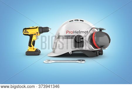 Illustration Of Construction And Repair Equipment Protective Helmet And Screwdriver With A Wrench Is