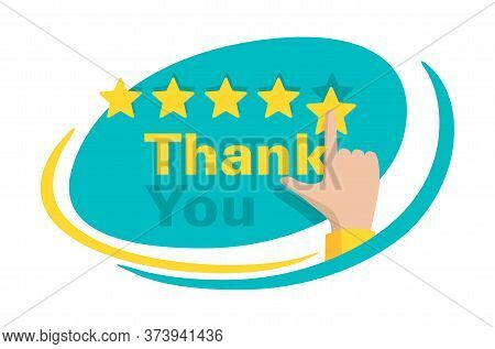 Thank You For 5 Stars Rated Feedback - Motivation Banner - Maximum Saticfaction Positive Review Illu