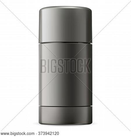 Deodorant Stick. Black Container Mockup For Men Antiperspirant. 3d Pack For Gel Deodorize. Luxury Hy