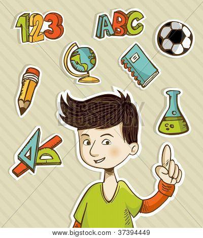 Back To School Cartoon Kid