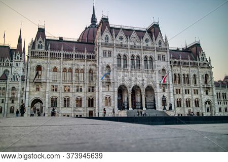 Amazing tourist landmark oh Budapest city -The Hungarian paliament building, built in the gothic revival architectural style on a background of clear autumn sky in Budapest, Hungary.