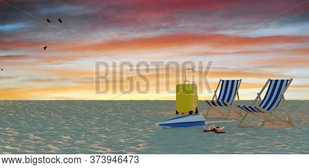 Empty tropical beach in the evening at sunset with suitcase and two deck chairs in the sand (3D Rendering)