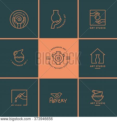 Set Of Vector Logo Layouts For Art Studio, Pottery Or Ceramic Studio.