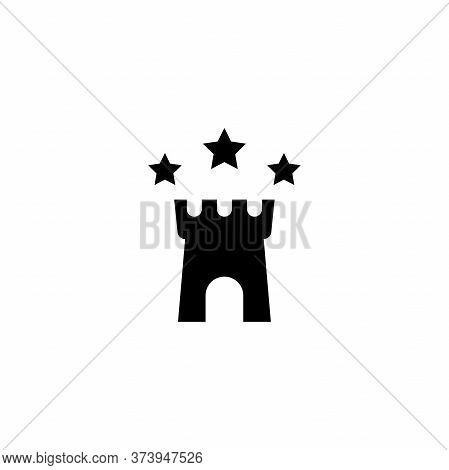 Fortress With Stars Icon. Best Protection Symbol. Tower, Defense, Castle, Safety. Landmark.
