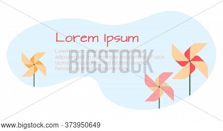Banner Template With Pinwheel, Wind Wheel, Children Active Games, Celebration In Parks