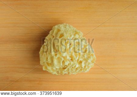 Top View Of Natural Sea Bath Cleaning Yellow Sponge For Washing On Wooden Table Background, Close-up