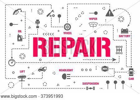 Repair Word Concepts Banner. Mechanic Workshop Restoration Auto. Car Service Infographics. Presentat