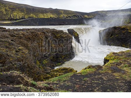Hafragilsfoss Is The Very Powerful Waterfall On Iceland Not Far From Its Bigger Brother Dettifoss. I