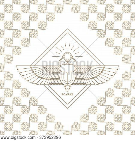 Vector Illustration Of The Egyptian Scarab Beetle, Personifying The God Khepri. Symbol Of The Ancien