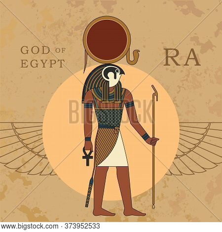 The Ancient Egyptian God Ra. A Vector Illustration Of Ancient Egypt From Flat Elements Isolated In T