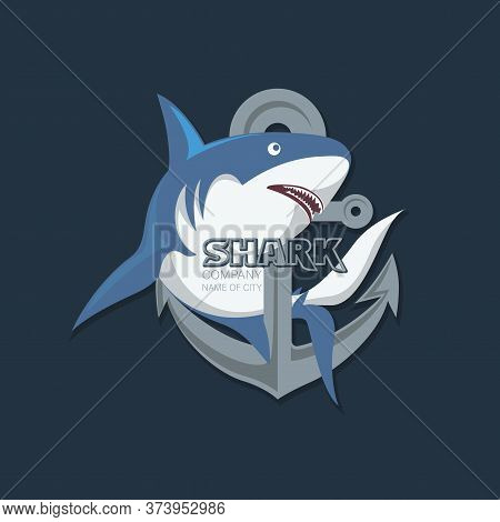 Shark, Anchor. Stylish Shark Logo. Vector Illustration For Use In Media And Various Business Project