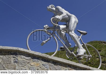 Tourmalet, France, June 24, 2020 : Monument At Octave Lapize, First Cyclist To Run At The Col Du Tou
