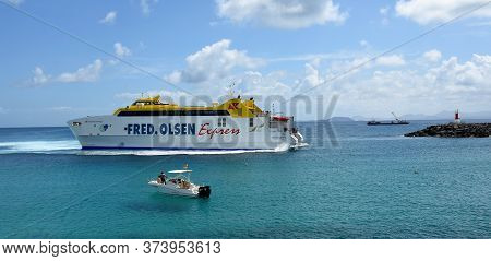 Playa Blanca, Lanzarote, Spain -  March 31, 2019: Fred Olsen Express Ferry At Playa Blanca Harbour S