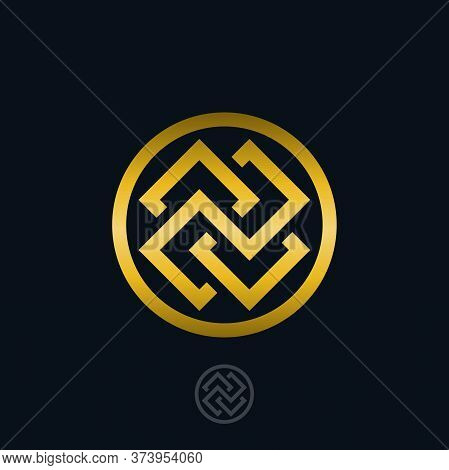 Symbol Of Ancient Serbs. Illustration Of A Symbol Of Ancient Serbs On A Blue Background