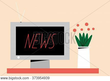 News On Tv. Watching News. Interior Items. Gray Tv And Vase Of Flowers. Home Interior. Colored Flat