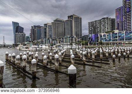 18th February 2020 In Melbourne, Australia: A German Photographer Visiting The Docklands, Taking Pic