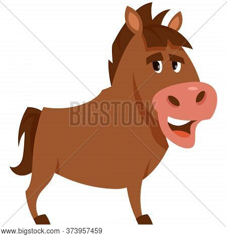 Standing Funny Stallion. Farm Animal In Cartoon Style.
