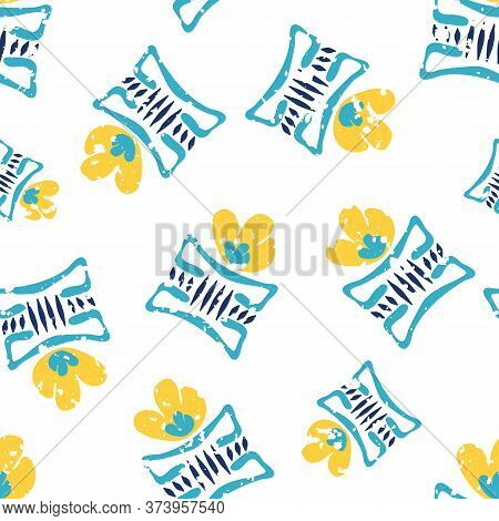 Modern Daffodil Flowers In Aztec Style Pots. Seamless Vector Pattern Background. Hand Drawn Yellow F