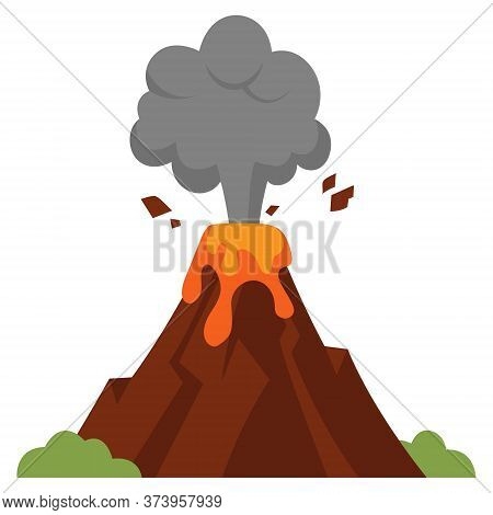 Illustration Of Eruption. Volcano In Cartoon Style Isolated On White Background.