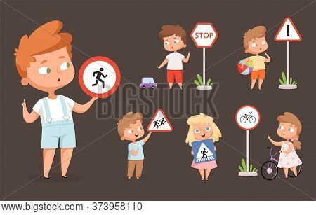 Kids Rules Road. School People With Traffic Signs Safety Education Crossing Road Traffic Lights Vect